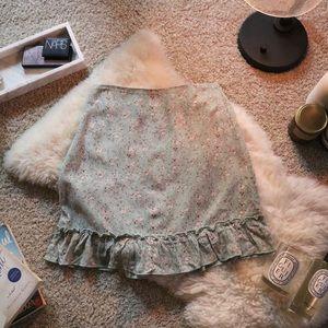 [BRANDY MELVILLE] Cara Sage Ruffle Skirt 🌼
